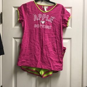 Apple Bottoms Pink and Green pajama set Large NWT